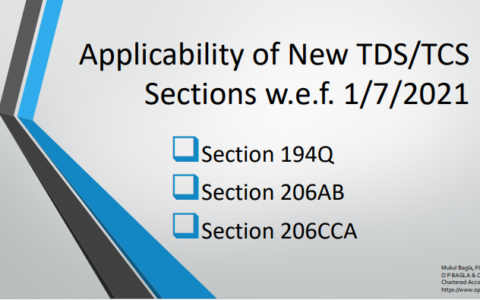 Applicability of New TDS/TCS Sections w.e.f. 1/7/2021