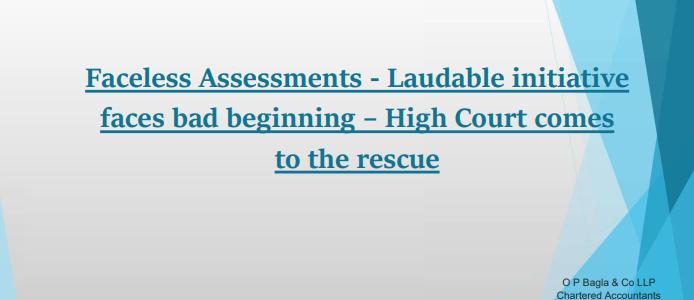 The faceless assessment scheme